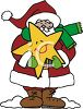 Cartoon Santa Holding a Smiling Christmas Star clipart