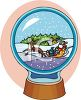Santa in His Sleigh Christmas Snow Globe clipart