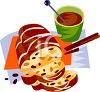 Hot Chocolate and Stollen Bread for Christmas Holidays clipart