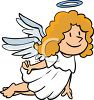 Cute Little Christmas Angel Flying with a Halo clipart