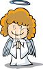 Little Angel Praying on Her Knees clipart