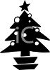 Silhouette of a Decorated Christmas Tree in a Pot clipart