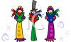 Cartoon of Carollers Singing clipart