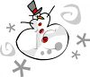 Stylized Snowman with Snowflakes  clipart