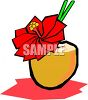 Tropical Mixed Drink in a Coconut Shell clipart