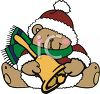 Christmas Bear Holding a Brass Bell Wearing a Hat and Scarf clipart