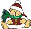 Cute Christmas Bear Wearing a Santa Style Jacket and Hat clipart