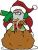 Cartoon Santa Holding a Bag of Toys clipart