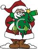 Cartoon Santa Holding a Christmas Tree with a Star Topper clipart