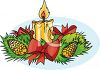 Christmas Holiday Centerpiece of Pine Cones and a Candle clipart