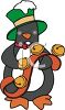 Cartoon Penguin Holding a String of Jingle Bells clipart