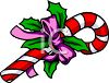 Festive Christmas Candy Cane with a Bow and Holly clipart