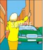Lady Hailing a Taxi Cab in the City clipart