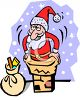 Christmas Cartoon of Santa Going Down the Chimney clipart
