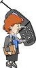Businesswoman Talking on a Giant Cell Phone clipart