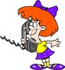 Little Girl with Red Hair Talking on the Telephone clipart