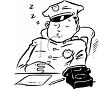 Vintage Cartoon of a Policman Sleeping on the Job clipart