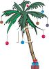 Palm Tree Decorated for a Tropical Christmas clipart
