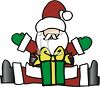 Cute Cartoon Santa with His Arms Raised in a Welcoming Gesture clipart
