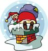 Cute Cartoon Santa Stuck in the Chimney clipart