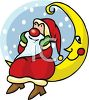 Cute Cartoon Santa Daydreaming on Mr. Moon clipart