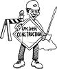 Road Crew Worker Holding an Under Construction Sign clipart