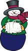 Cute Old Fashioned Snowman With His Hands in a Muff clipart