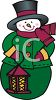 Cute Cartoon Snowman Holding a Lantern clipart