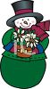 Cute Cartoon Snowman Holding a White Poinsettia Flower clipart