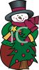 Cartoon Snowman with a Decorated Christmas Tree clipart