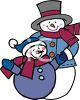 Cute Father and Son Snowmen clipart