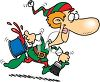 Cartoon of One of Santa's Elves Running with a Can of Paint clipart
