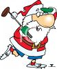 Cartoon of Santa Claus Playing a Round of Golf clipart