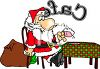 Cartoon of Santa Claus Taking a Break at a Cafe clipart