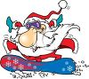Cartoon of Santa Claus Snowboarding clipart