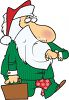 Cartoon of Santa Claus Carrying a Briefcase and Looking at His Watch clipart