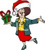 Drunk Woman at an Office Secret Santa Christmas Party clipart
