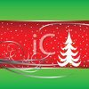 Christmas Design with Swirls and Snow and a Christmas Tree clipart