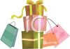 Pretty Christmas Packages Stacked Up with Shopping Bags clipart