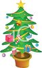 Festive Christmas Tree with Packages as Ornaments clipart