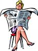 Woman Reading the Newspaper clipart