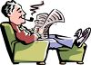 Elderly Man Reading the Newspaper and Smoking Pipe clipart