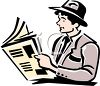 Man Reading the Newspaper clipart