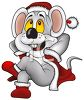 Cute Cartoon Mouse Dressed Up Like Santa Claus clipart