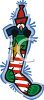Penguin Peeking Out of a Christmas Stocking clipart