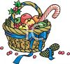 Christmas Gift Basket with Winter Fruit and Candy Canes clipart