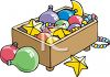 Box of Christmas Decorations and Ornaments clipart