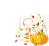 Pumpkin Graphic with Fall Leaves clipart