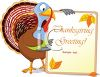Thanksgiving Turkey Holding a Greeting Sign clipart