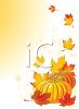 Thanksgiving Pumpkin with Autumn Leaves clipart